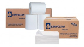 Papel toalha bobina e interfolha Campclean